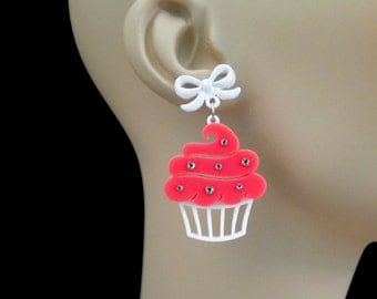 Sparkle Cupcake Earrings - With Bow Posts - Acrylic Laser Cut Earrings (C.A.B. Fayre Original Design)