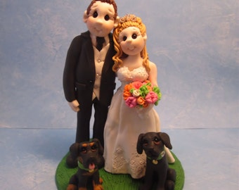 Bride and Groom with Dogs Wedding Cake Topper