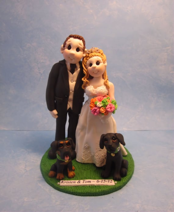 wedding cake toppers bride groom and dog and groom with dogs wedding cake topper 26422