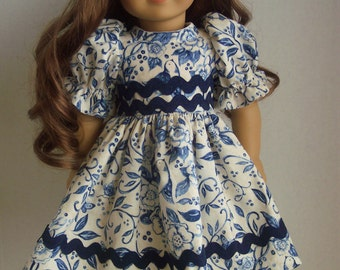 Blue and White Dress- 18 inch doll