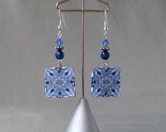 Blue Kaleidoscope Cane Art Clay Earrings