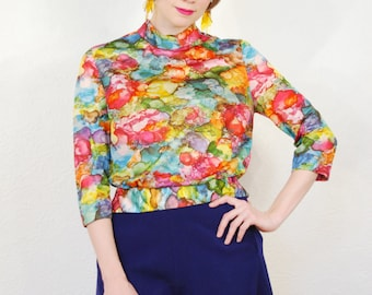 vintage 1960s / psychedelic / blouse / peplum / art print  / ink / mod / trippy