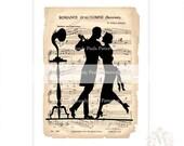 Art Deco, print, romantic couple, dancing couple, vintage music sheet, phonograph, gramophone, 1920s, Flapper, Silhouette, Valentine