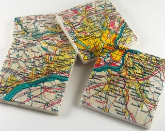 Philadelphia Area- map gift - drink coasters - philly