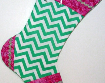Chevron Christmas Stocking Pink Green by TheStorybookCottage