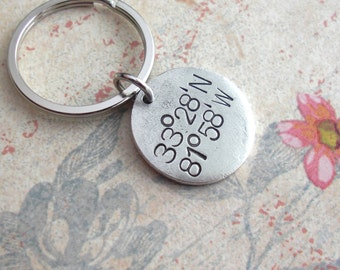 GPS Coordinates Keychain.. Hand Stamped metal tag .. customize antiqued charm .. Medium Round Disc pendant in Copper, Silver or Gold Gifts