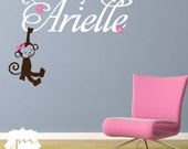 Girl Monkey Wall Decal with Custom Name - Monkey Flowers Bird Girls Nursery Vinyl Wall Art Room Decor Sticker - CM148B