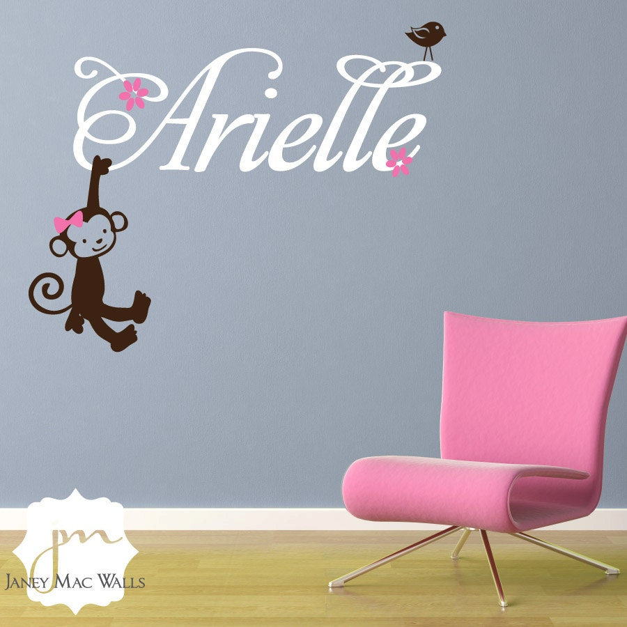 girl monkey wall decal with custom name monkey by janeymacwalls. Black Bedroom Furniture Sets. Home Design Ideas