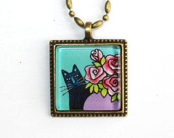 Black Cat Glass Pendant/ Feline Art Necklace by Susan Faye