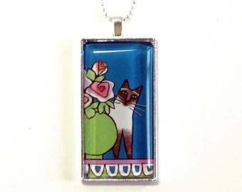 Siamese Cat Pendant/ Chocolate Point/ Pet Art Jewelry by Susan Faye