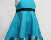 Girl's Blue Patchwork Circle Dress, size 3T- Ready to Ship!