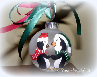 Our First Christmas Ornament Decor Hand Painted Original Art Personalized Penguin Couple, Newly Married Couple Gift, Bridal Shower Gift