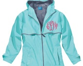 Monogram Raincoat Waterproof Rain Jacket Aqua Blue Coral Black Personalized Monogrammed Embroidered Charles River
