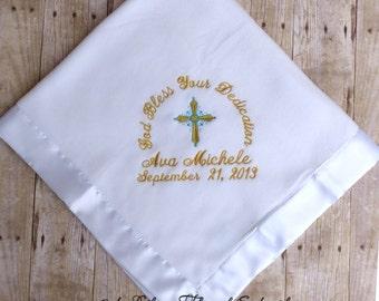 Personalized Baby Christening Blanket Baptism Cross Satin Trim Monogrammed