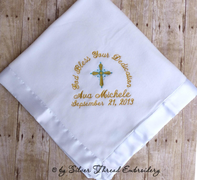 Personalized Baby Christening Blanket Baptism Cross Satin Trim
