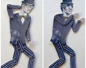 DIY Printable PDF Dr. Jekyll Mr. Hyde Paper Puppet Doll Monster Man for Halloween Party Fun, Gray, Gold