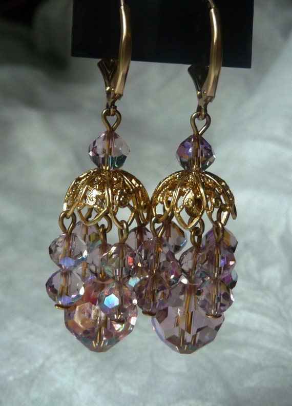 sparkly lavender chandelier earrings light by