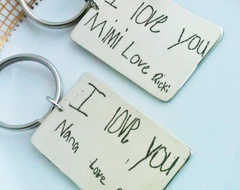 Handwriting Keychain, Handwriting Key fob, personalized gifts, Gifts For Everyone, Gift for Dad, Fathers Day Gift, Custom Gift for Groomsmen