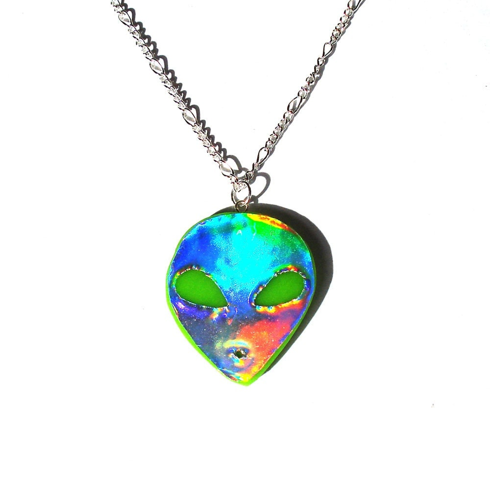 sale holographic necklace green ufo hologram