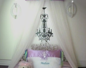 CROWN Princess Lavender FrEe Personalized Monogram SaLe Embroidered Bed Canopy