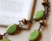 Moss Green, Antiqued Copper Necklace, earthy, rustic woodland