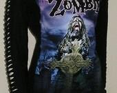 Rob Zombie Long Sleeve Slashed Top Tshirt Revamp Horror Upcycled Bnwt DIY ooak sz 10 UK