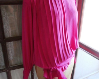 80s Escada by Margaretha Ley designer blouse - Bright Pink Silk