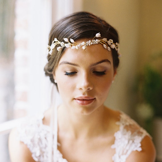 Wedding Hairstyle Crown: Bridal Flower Crown Circlet Wedding Hair Accessory Pearl