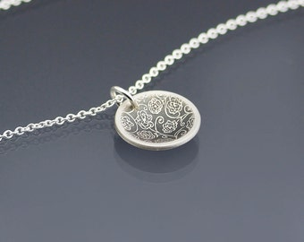 Small Cupped Rose Garden Necklace - etched sterling silver