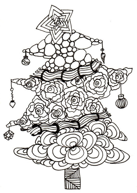 Printable DIY Zendoodle Christmas Tree Card 5x7 Pdf From Kauai