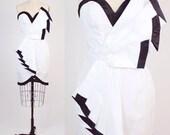 80s vintage party dress / vintage black and white origami dress / sweetheart mini dress / xxs