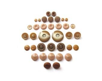 Vintage Beige Buttons . Tan Button Sets . Retro Button Assortment . DIY . Sewing Supplies