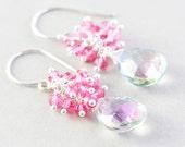 Topaz Dangle Earrings, Mystic Topaz Cluster Earrings, Pink Earrings