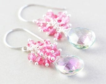 Topaz Dangle Earrings, Mystic Topaz Cluster Earrings, Pink Earrings