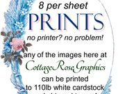 Add PRINTING SERVICE to your order--8 per sheet gift tag size print made of any image Add on service Printables