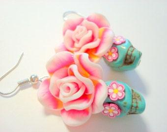Sugar Skull Earrings Turquoise Pink White Day of the Dead Rose and Sugar Skull Earrings