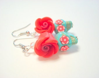Turquoise and Red Day of the Dead Flower Sugar Skull Earrings Small