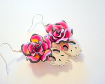 Pink, Black Rose and Silver Sugar Skull Day of the Dead Earrings