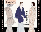Vintage Sewing Pattern 1930's Evening Wraps or Capes Booklet Depew 3033 -INSTANT DOWNLOAD-