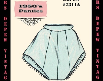 Vintage Sewing Pattern 1950's Panties in Any Size - PLUS Size Included - Depew 7311a -INSTANT DOWNLOAD-