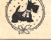 Christmas Scottish Terrier Rubber Stamp, Scotty Dog in Scarf E22911 Wood Mounted