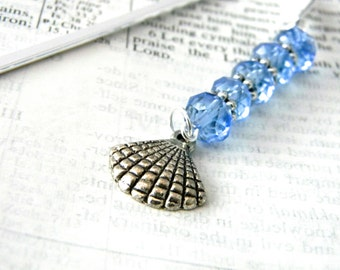 Shell Bookmark with Blue Glass Beads Shepherd Hook Silver Color Steel Bookmark