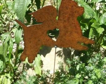 Rusty Finish Metal Garden Art Cairn Terrier Angel Memorial Yard Stake