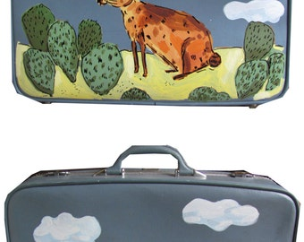 Hand painted rabbit suitcase