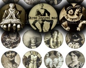 "HUMAN ODDITIES - Digital Printable Collage Sheet - 1"" Circles, 25 mm - Vintage Circus Sideshow Freakshow Performers, Digital Download"