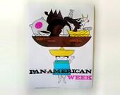 SALE - Vintage Kids Poster 1960s Mid Century Print Illustration - Pan American Week