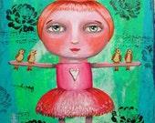"Original Painting Acrylic Mixed Media 9 x 12"" Dancing with Birds"