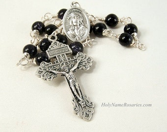 Stations of the Cross Chaplet Way Via Crucis Via Dolorosa Blue Goldstone Pardon Indulgence Crucifix Wire Wrapped Unbreakable Pocket Version