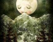 The Peckish Moon 8X10 print | moon painting, nursery art, children's art, fairytale decor, new baby wall art | by Meluseena