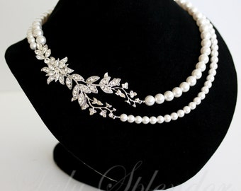 Wedding Necklace Vintage Bridal Necklace Crystal Flower and Leaf Statement Wedding Jewelry Pearl necklace   TESS DELUXE
